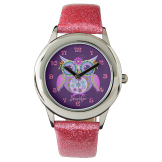 Cute flower power owl, clocknumbers & custom name watch