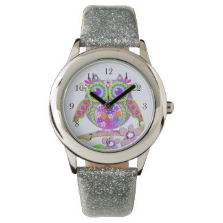 Cute Flower Power Owl watch