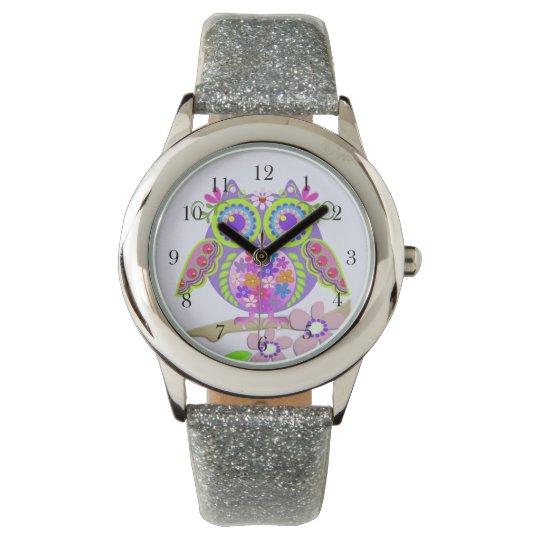 Cute Flower Power Owl watch