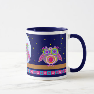 Cute Flower power Owls and Starry night mug