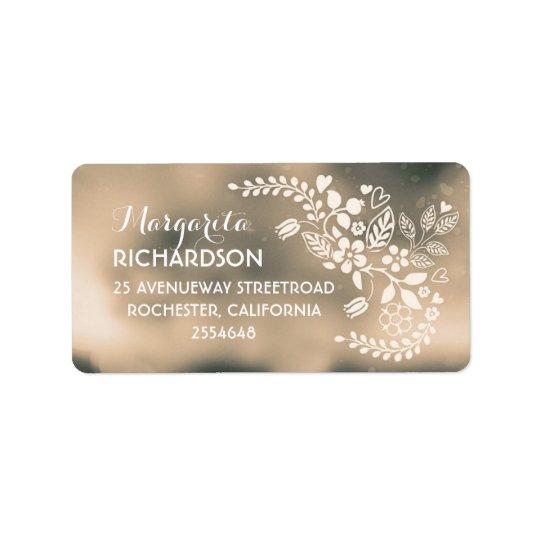 cute flowers beige brown wedding address labels