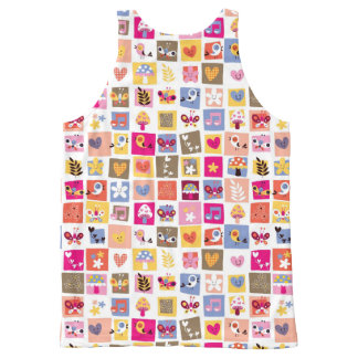 cute flowers, birds, hearts squares pattern