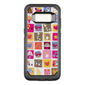 cute flowers, birds, hearts squares pattern OtterBox commuter samsung galaxy s8 case