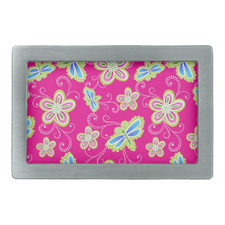 Cute flowers, dragonflies and swirls on pink belt buckles