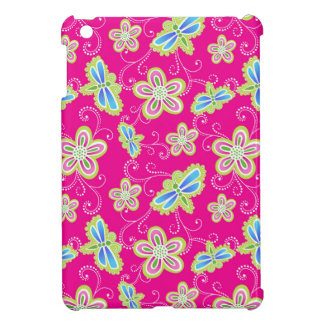 Cute flowers, dragonflies and swirls on pink iPad mini covers