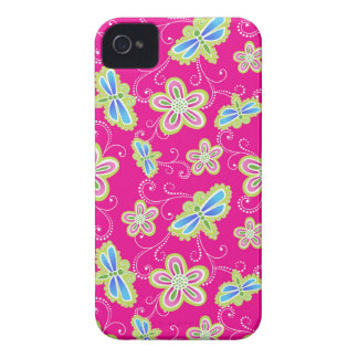 Cute flowers, dragonflies and swirls on pink iPhone 4 Case-Mate cases