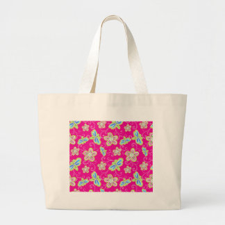 Cute flowers, dragonflies and swirls on pink large tote bag