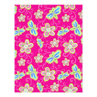 Cute flowers, dragonflies and swirls on pink letterhead