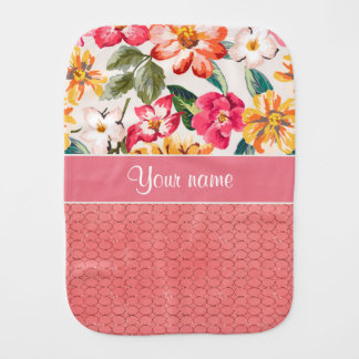 Cute Flowers Faux Pink Glitter Circles Burp Cloth