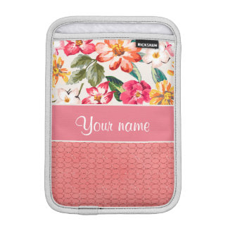 Cute Flowers Faux Pink Glitter Circles iPad Mini Sleeves