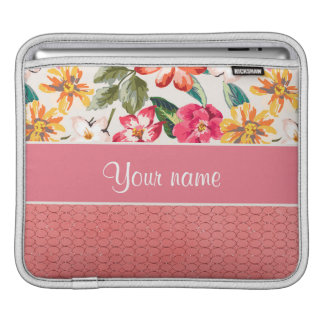 Cute Flowers Faux Pink Glitter Circles iPad Sleeves