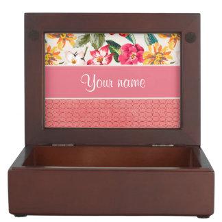Cute Flowers Faux Pink Glitter Circles Memory Box