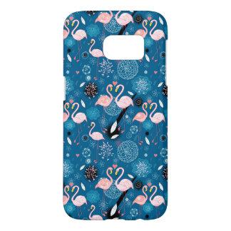 Cute flowers flamingos pattern samsung galaxy s7 case