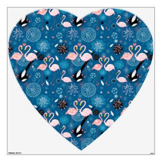 Cute flowers flamingos pattern wall sticker