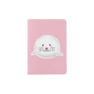 Cute fluffy baby seal passport holder