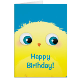 Cute Fluffy Bird Birthday Card