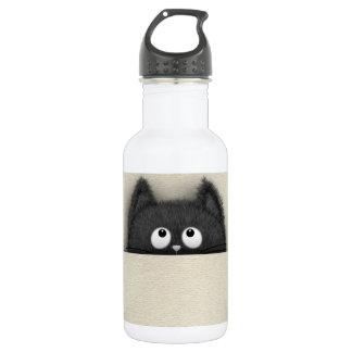 Cute Fluffy Black cat peaking out 532 Ml Water Bottle