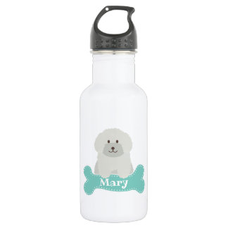 Cute Fluffy Curly Coat Poodle Puppy Dog Monogram 532 Ml Water Bottle