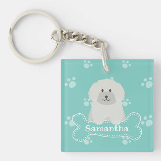 Cute Fluffy Curly Coat Poodle Puppy Dog Monogram Keychain