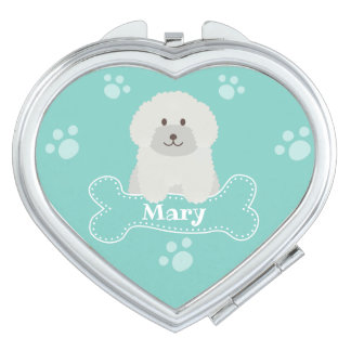 Cute Fluffy Curly Coat Poodle Puppy Dog Monogram Makeup Mirror