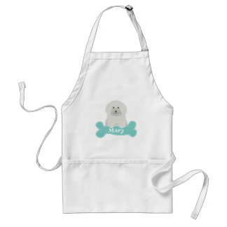 Cute Fluffy Curly Coat Poodle Puppy Dog Monogram Standard Apron