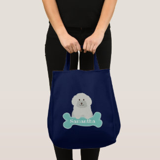 Cute Fluffy Curly Coat Poodle Puppy Dog Monogram Tote Bag