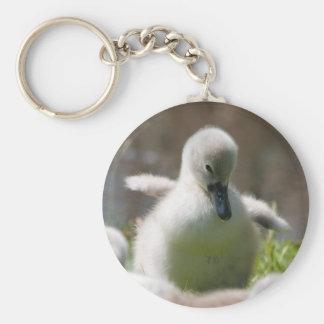 Cute fluffy cygnet baby swan keychain, present keychain