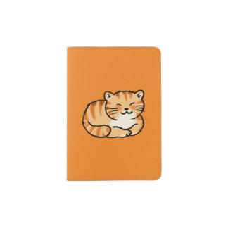 cute fluffy ginger and white cat passport holder