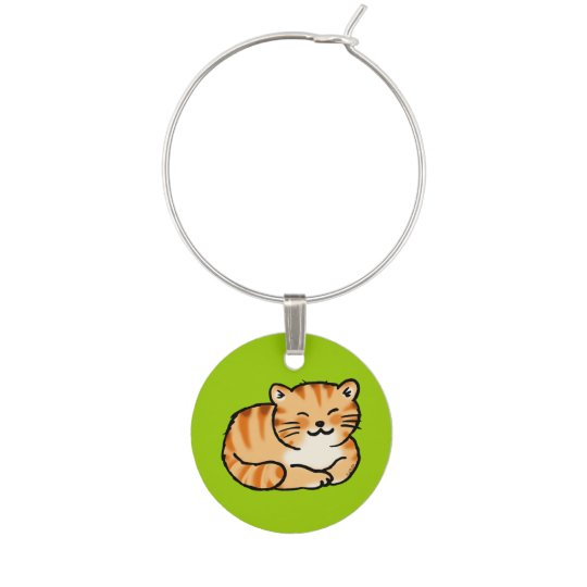 cute fluffy ginger and white cat wine glass charm