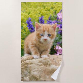 Cute Fluffy Ginger Baby Cat Kitten Flowers - Beach Towel