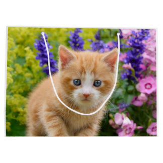 Cute Fluffy Ginger Baby Cat Kitten in Flowers Pet Large Gift Bag