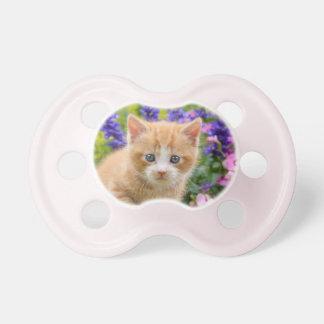 Cute Fluffy Ginger Baby Cat Kitten in Flowers Pet Pacifier