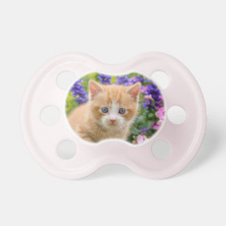 Cute Fluffy Ginger Baby Cat Kitten in Flowers Pet Pacifiers