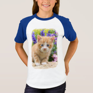 Cute Fluffy Ginger Baby Cat Kitten in Flowers Pet T-Shirt