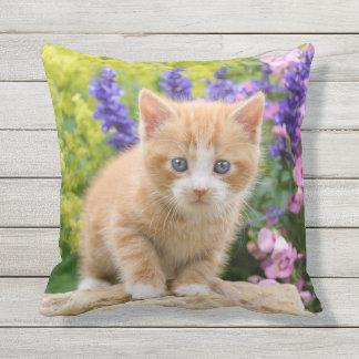 Cute Fluffy Ginger Baby Cat Kitten in Flowers Pet Throw Pillow