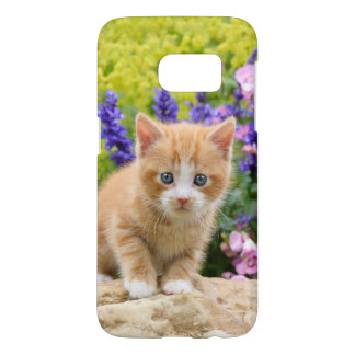 Cute Fluffy Ginger Baby Cat Kitten in Flowers - Samsung Galaxy S7 Case