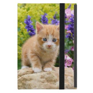 Cute Fluffy Ginger Cat Kitten in Flowers Pet Photo iPad Mini Case