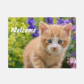 Cute Fluffy Ginger Cat Kitten in Flowers - Welcome Doormat