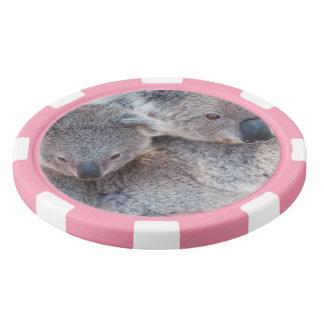 Cute Fluffy Grey Koalas Poker Chips