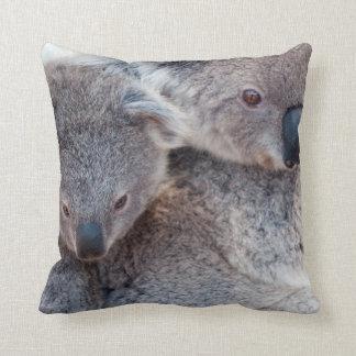 Cute Fluffy Grey Koalas Throw Pillow