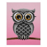 Cute Fluffy Grey Owl with Glasses, Pink Poster