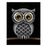 Cute Fluffy Grey Owl with Glasses with Stars Poster