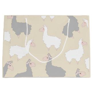 Cute Fluffy Grey & White Llamas Large Gift Bag