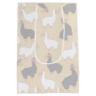 Cute Fluffy Grey & White Llamas Medium Gift Bag