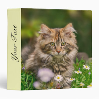 Cute Fluffy Maine Coon Kitten Cat in Flowers Photo Vinyl Binders