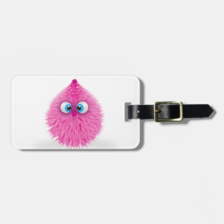 Cute Fluffy Pink Monster Luggage Tag