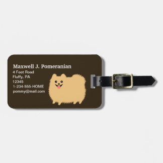 Cute Fluffy Pomeranian with Customizable Text Luggage Tag