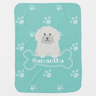 Cute Fluffy Poodle Puppy Dog Unisex Aqua Monogram Baby Blanket