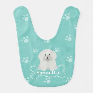 Cute Fluffy Poodle Puppy Dog Unisex Aqua Monogram Bib