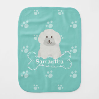 Cute Fluffy Poodle Puppy Dog Unisex Aqua Monogram Burp Cloth